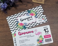 Convite Ticket Envelope Impresso Flamingo Tropical
