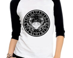 Baby Look Raglan Cancer Signos Astrologia Tres Quartos