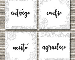 Entrego - Confio - Aceito - Agrade- Kit placa decorativa MDF