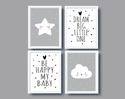 Kit Quadros Nuvem Estrela Be Happy Dream Big Little One