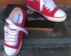 6266be4694a ... Tenis All Star personalizado com Pérolas vermelho