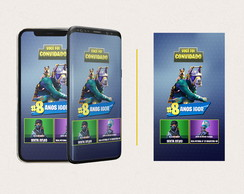 Convite Digital Temático Fortnite -WhatsApp