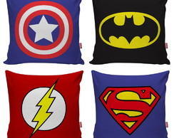 Kit 4 Capa Almofada Decorativa Super Herois Geek Batman