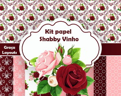 Kit Papel digital floral Vinho