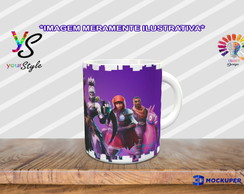 Caneca Game Fortnite Skins Fable, Giddy Up, Nigthshade, Dusk