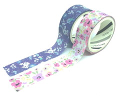 Kit Washi Tapes - Flores Fundo Azul e Colorida (2 Unidades)