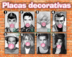 Placas decorativas Chicletes famosos