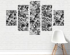 Quadro Canvas Preto E Branco Figuras Colagem Frases Pb27c5p