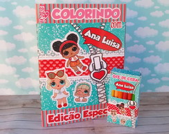 Kit colorir LOL surprise luxo revistinha e giz livro