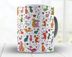 Caneca Gatos Coloridos - Gato Cute 585