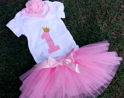 Kit PRONTA ENTREGA Smash the cake tutu rosa