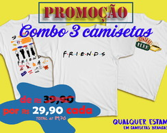 COMBO 3 CAMISETAS DA SERIE FRIENDS