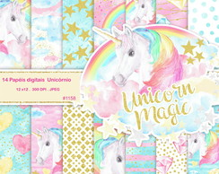 Kit Papel Digital Unicornio Magic