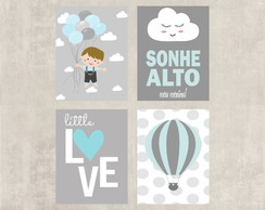 Kit Placas Decorativas Sonhe Alto