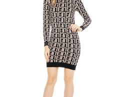 1b21384ca Vestido Curto Feminino Tricot Modal Pied de Poule Bege 04988 no Elo7 ...