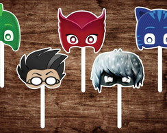 10 Máscaras PJ Masks com 5 Personagens