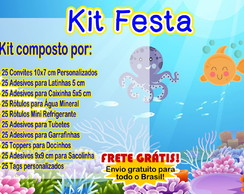 Kit Rótulos Festa Fundo do Mar