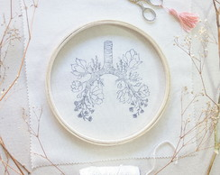 {florence's lungs} Kit para bordar quadro bastidor 21cm
