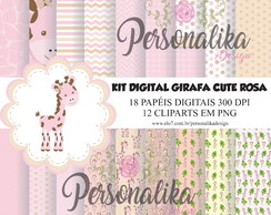 KIT DIGITAL GIRAFA CUTE ROSA