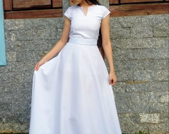 866801a26 Vestido de Noiva Longo Godê Fluído Romântico Mangas Longas no Elo7 ...