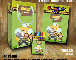 Kit Combo Revista Colorir + Sacola + Giz - Tema Safari