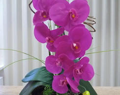 Arranjo artificial orquídea roxa - silicone - toque real