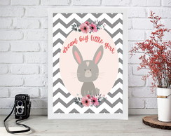 Quadro Moldura A4 Decorativa - Dream big little girl -Coelha