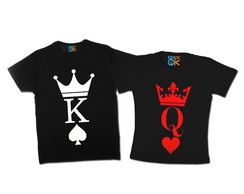 Kit Camisetas Casal King and Queen