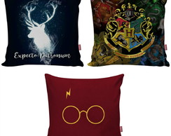 Kit 3 Capa Almofada Harry Potter Hogwarts Expecto Patronum
