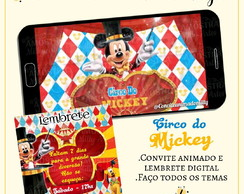Convite Animado Circo do Mickey + Lembrete Digital