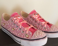 Tenis All Star Rosa Gliter Luxo