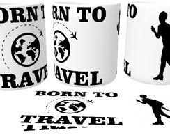 Caneca de Porcelana Born To Travel