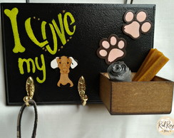 "Porta Coleiras ""I Love My Dog"""