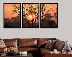Kit 3 Quadros Decorativos Arvore Pôr Do Sol Conjunto Moldura