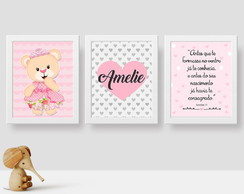 Kit quadrinhos MDF ursa princesa