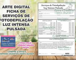 Ficha Fotodepilacao Luz Pulsada Estetica Digital Imprimir No Elo7