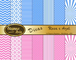 Papel Digital Dica - Rosa e Azul