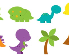 Kit digital em PNG Dino cute