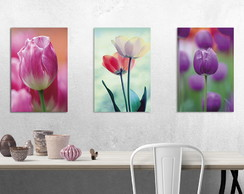 KIT 3 PLACAS DECORATIVAS TULIPAS 20X30