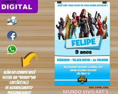 CONVITE DIGITAL FORTNITE BATTLE ROYALE-FORTINET