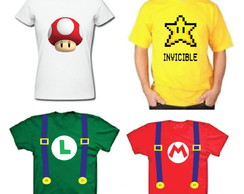Camisetas Fantasia do Super Mario Bros e Amigos