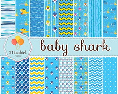 Papel Digital - Baby Shark (azul)