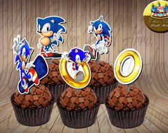Sonic 50 toppers tags para doces
