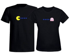 Kit Camisetas Casal Nerd Player Pac.Man