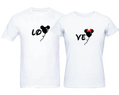 Kit Camisetas Casal Disney Mickey e Minnie Love