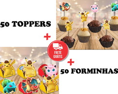 pokemon - detetive pikachu - 50 toppers + 50 forminhas
