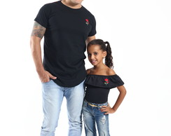 Kit camisetas long e body tal pai tal filha Rosa bordada
