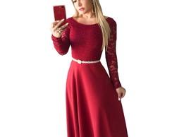 Vestido Festa Rosa Renda Longo Madrinha Casamento Formatura