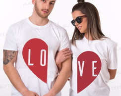 Kit Com 2 Camisetas Namorados Casal Love