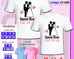 Kit com 02 Camisetas Chá Bar New Game Game Over